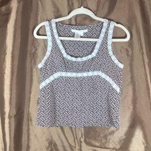 Max Studio brown and white sleeveless short top